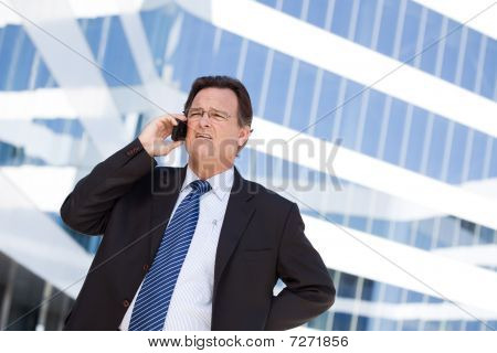 Concerned Businessman Talks On His Cell Phone