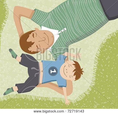 Illustration of father and son lying down on blanket having fun
