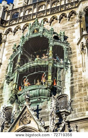 Close To The Big Old Chimes Of The Town Hall In Munich