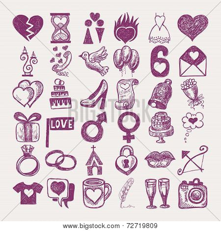 36 hand drawing doodle icon set, wedding sketchy illustration