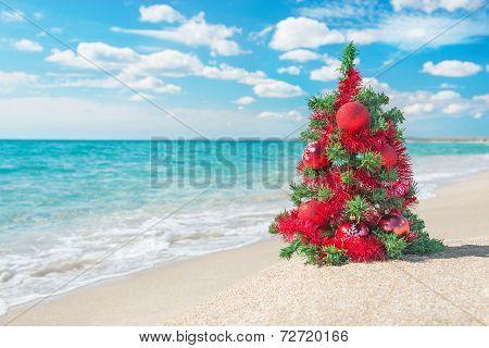 Christmas Tree On The Sea Beach. Christmas Vacation Concept.