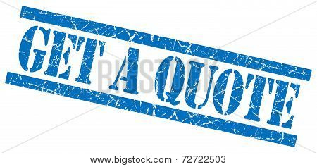 Get A Quote Blue Grungy Stamp On White Background