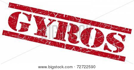 Gyros Red Grungy Stamp On White Background