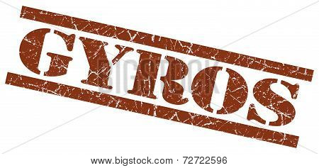 Gyros Brown Grungy Stamp On White Background