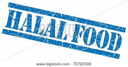 Halal Food Blue Grungy Stamp On White Background