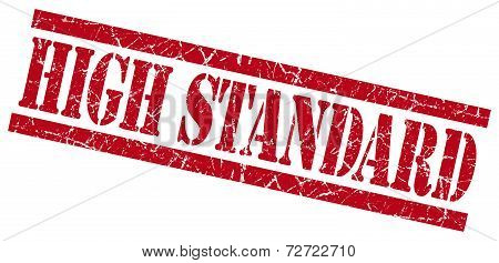 High Standard Red Grungy Stamp On White Background