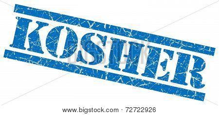 Kosher Blue Grungy Stamp On White Background
