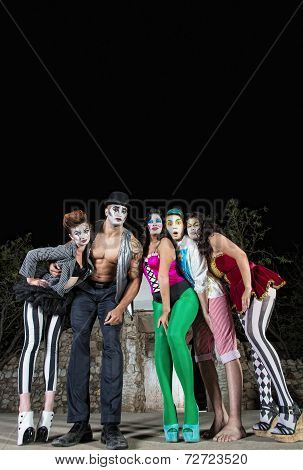 Five Cirque Clowns