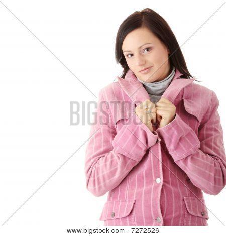 Woman In Pink Winter Coat