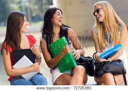 Pretty Student Girls Having Fun At The Park After School