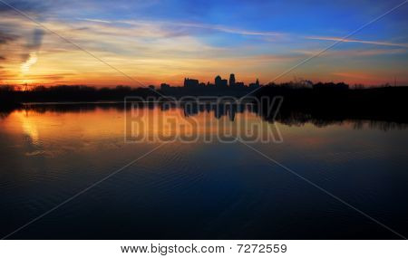 Kansas City Skyline At Sunrise Panoramic