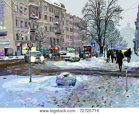 digital painting of winter Kiev city landscape, Ukraine