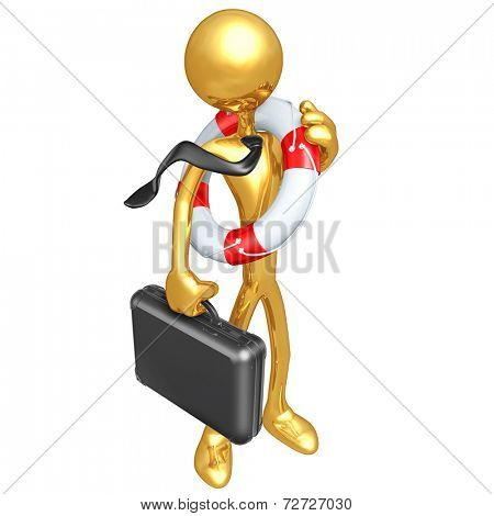 Gold Guy Businessman With Lifebuoy