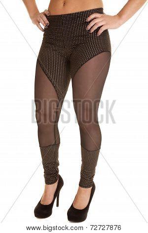 Woman Leggings Black Sheer