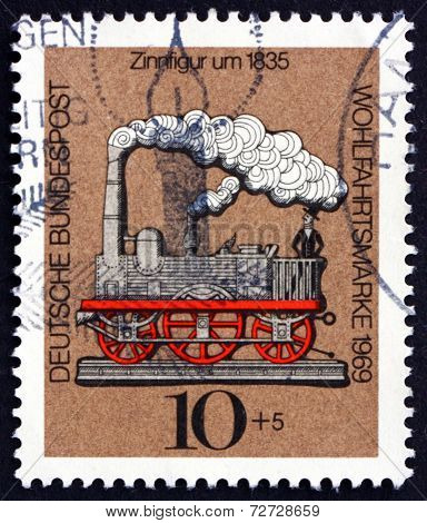 Postage Stamp Germany 1969 Locomotive, Tin Toy