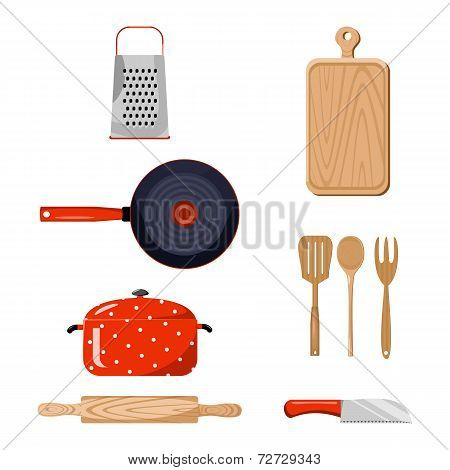 Kitchen stuff. Color vector illustration.