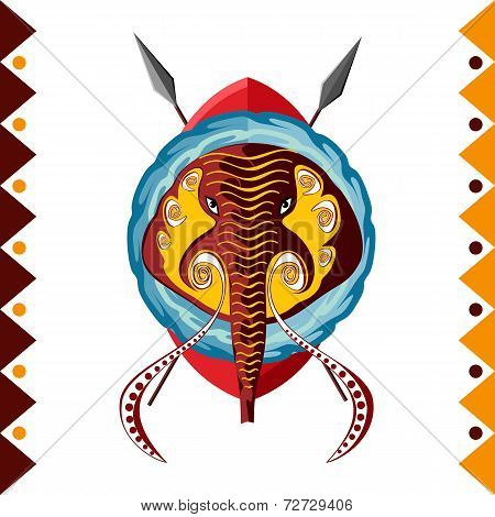 African Elephant. Africa's animal in color pattern vector illustration.