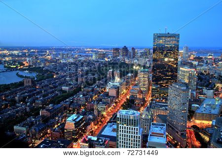 Aerial View Of Boston At Dusk