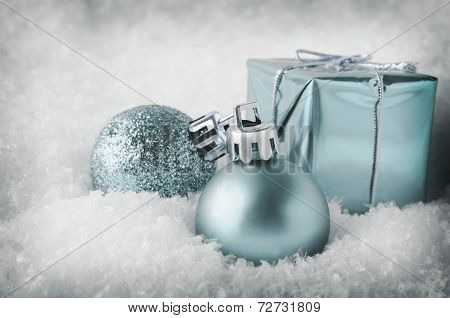 Cool Blue Christmas Decorations In Snow