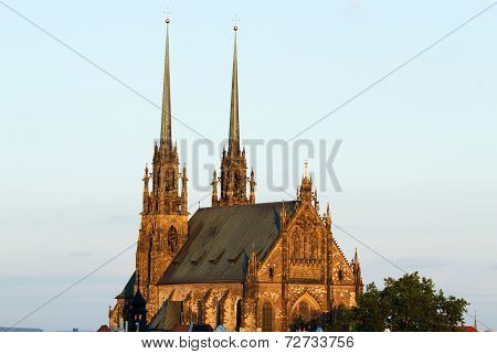 Illuminated St. Peter And Paul Cathedral At Sunset, Brno