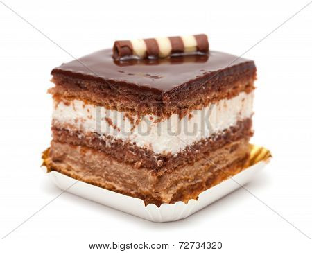 Chocolate Layer Cake Isolated On White