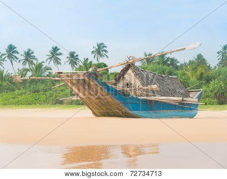 Fishing Boat At Beautiful Ocean Palm Beach