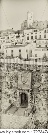 General view of Ibiza old town. Dalt Vila. Spain.