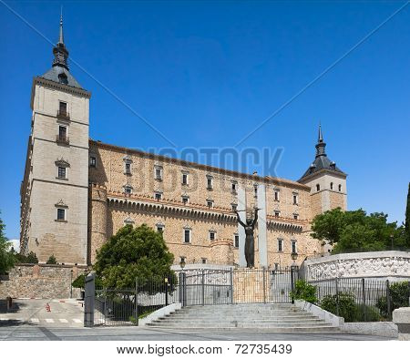 Alcazar of Toledo on a sunny day, Toledo, Spain