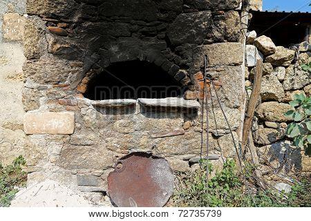 Traditional Old Stone Owen In Villages Near Mediterranean Region