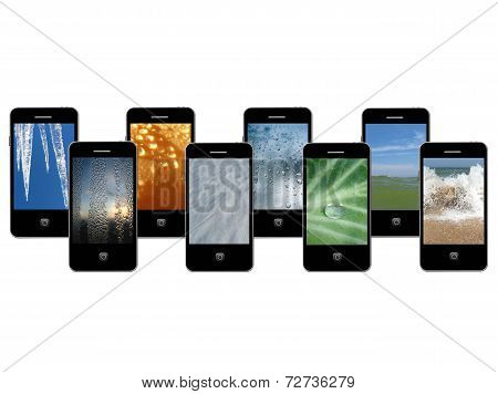Mobile Phones With Different Phases Of Water