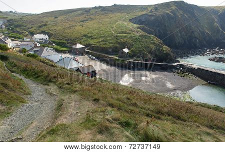 Mullion Cove village Cornwall UK the Lizard peninsula Mounts Bay near Helston
