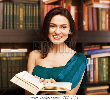 stock photo portrait of beauty young woman reading book in library