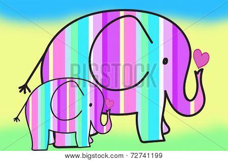 Pastel Colors Stripes Elephants