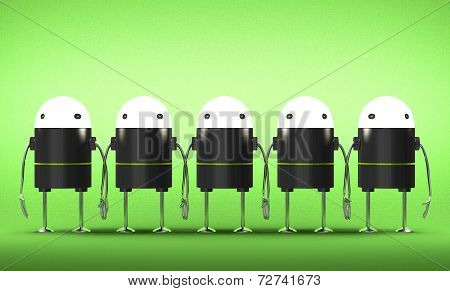 Many Robots With Glowing Heads Holding Hands