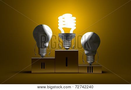 Glowing Spiral Light Bulb And Dead Tungsten Ones On Podium