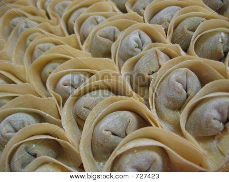 Food - Rows Of Chinese Dumpling Or Wanton
