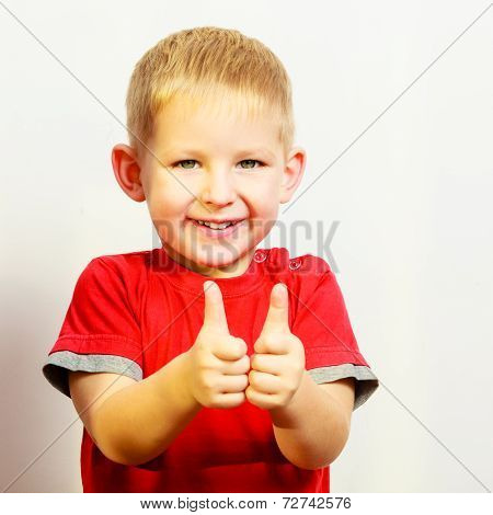 Little Boy Showing Thumb Up Success Hand Sign Gesture.
