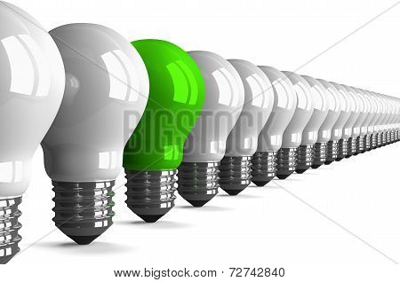 Green Tungsten Light Bulb And Many White Ones, Perspective View