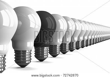 Black Tungsten Light Bulb And Many White Ones, Perspective View