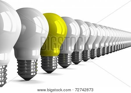 Yellow Tungsten Light Bulb And Many White Ones, Perspective View