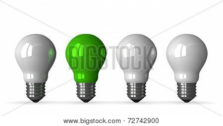 Green Tungsten Light Bulb And Three White Ones, Front View