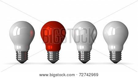 ?red Tungsten Light Bulb And Three White Ones, Front View