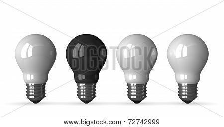 ?black Tungsten Light Bulb And Three White Ones, Front View