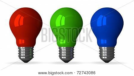 ??red, Green And Blue Tungsten Light Bulbs, Front View
