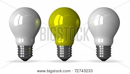 yellow Tungsten Light Bulb And Two White Ones, Front View