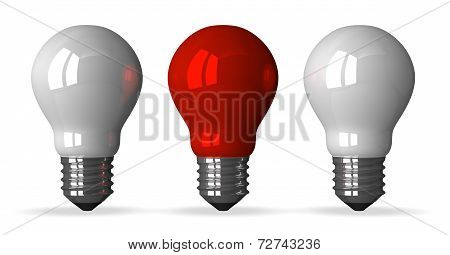 Red Tungsten Light Bulb And Two White Ones, Front View