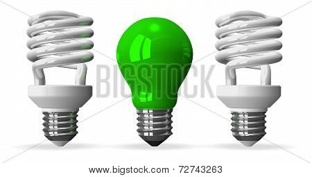 Green Tungsten Light Bulb And Two White Spiral Ones