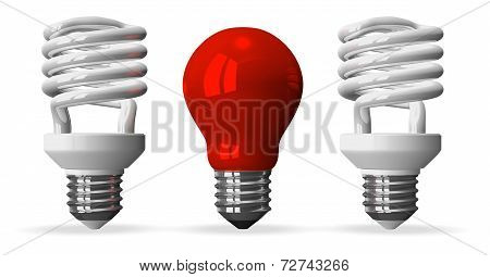 Red Tungsten Light Bulb And Two White Spiral Ones