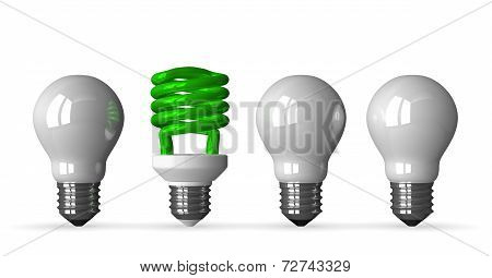 Green Spiral Light Bulb And Three White Tungsten Ones