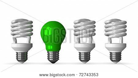 Green Tungsten Light Bulb And Three White Spiral Ones